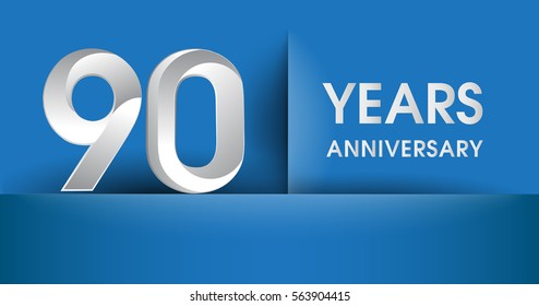 90 years Anniversary celebration logo, flat design isolated on blue background, vector elements for banner, invitation card and birthday party.