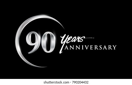90 years anniversary celebration. Anniversary logo with silver ring elegant design isolated on black background, vector design for celebration, invitation card, and greeting card