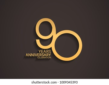 90 years anniversary celebration logotype with elegant gold color for celebration