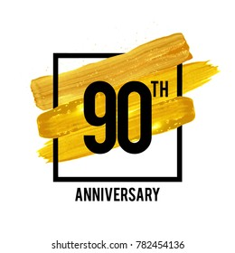 90 Years Anniversary Celebration Logotype with Golden Brush Ornament Isolated on White Background