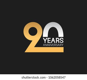 90 years anniversary celebration simple logotype. anniversary logo with elegance golden and silver color isolated on black background