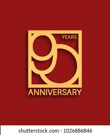 90 years anniversary design logotype golden color in square isolated on red background for celebration event