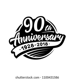 90 years anniversary design template. Vector and illustration. 90th logo.