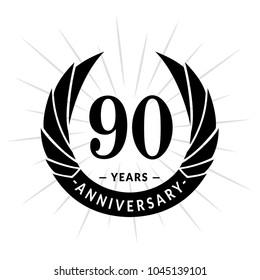 90 years anniversary. Elegant anniversary design. 90 years logo.