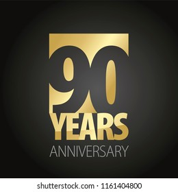 90 Years Anniversary gold black logo icon banner