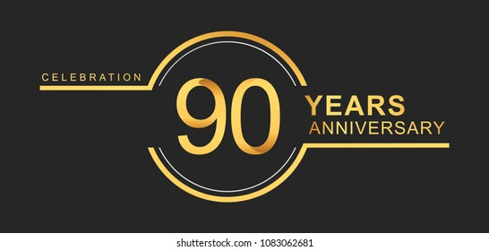 90 years anniversary golden and silver color with circle ring isolated on black background for anniversary celebration event