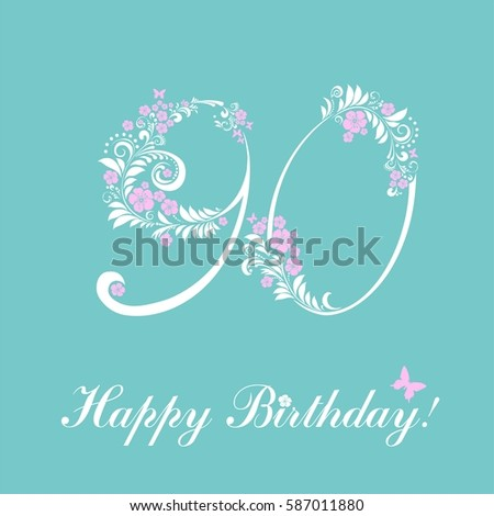 90 Years Anniversary Happy Birthday Card Celebration Background With Number And Place For Your