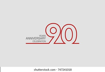 90 years anniversary linked logotype with red color isolated on white background for company celebration event