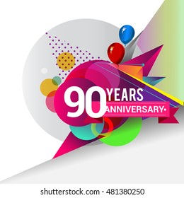 90 Years Anniversary logo with balloon and colorful geometric background, vector design template elements for your birthday celebration.
