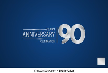 90 years anniversary logo with elegance silver color isolated on blue background for celebration event