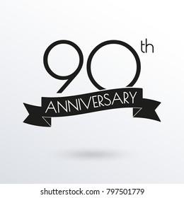 90 years anniversary logo with ribbon. 90th anniversary celebration label. Design element for birthday, invitation, wedding jubilee. Vector illustration.