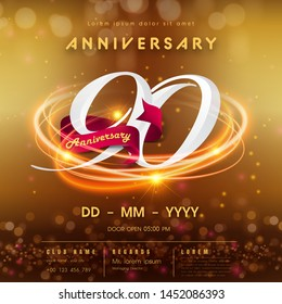 90 years anniversary logo template on golden Abstract futuristic space background. 90th modern technology design celebrating numbers with Hi-tech network digital technology concept design elements.