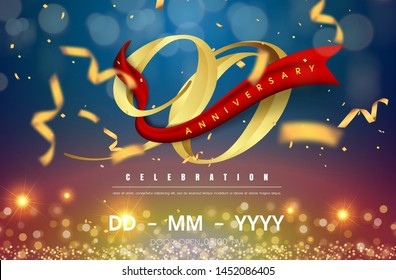 90 years anniversary logo template on gold and blue background. 90th celebrating golden numbers with red ribbon vector and confetti isolated design elements