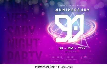 90 years anniversary logo template on purple Abstract futuristic space background. 90th modern technology design celebrating numbers with Hi-tech network digital technology concept design elements.