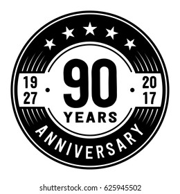 90 years anniversary logo template. Vector and illustration.