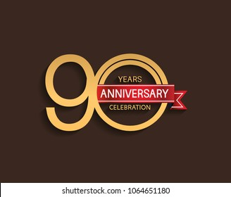 90 years anniversary logotype with golden color red ribbon isolated on brown background for celebration event