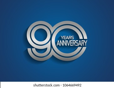 90 years anniversary logotype with linked multiple line silver color isolated on blue background for celebration event