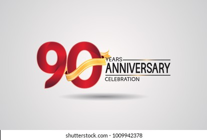 90 years anniversary logotype with red color and golden ribbon isolated on white background for celebration event