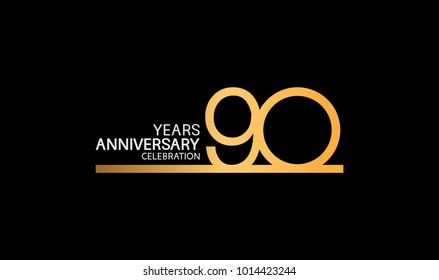 90 years anniversary logotype with single line golden and silver color for celebration