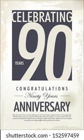 90 years anniversary retro background