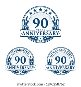 90 years anniversary set. 90th celebration logo collection. Vector and illustration.