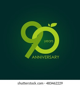 90 years anniversary, signs, symbols, which is green with flat design style