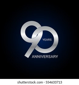 90 years anniversary silver, signs, symbols, simple logo design isolated on dark background