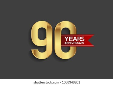90 years anniversary simple design with golden color and red ribbon isolated on black background for celebration event