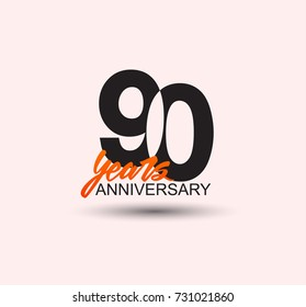 90 years anniversary simple design with negative style and yellow color isolated in white background