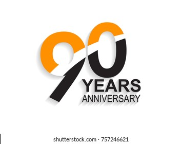 90 years anniversary simple design with white slash in orange and black number for celebration event