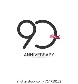 90 Years  Anniversary Simple Logo Celebration Isolated on White Background