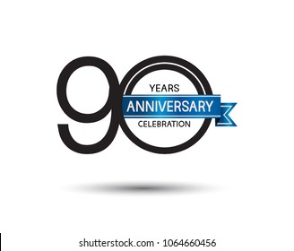 90 years anniversary simple logotype with black color with blue ribbon isolated on white background for celebration event