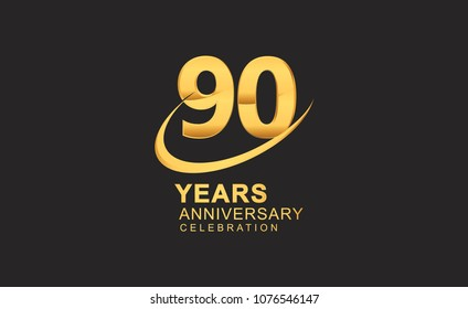 90 years anniversary with swoosh design golden color isolated on black background for celebration