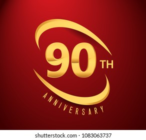 90 years anniversary with swoosh design golden color isolated on red background for anniversary celebration