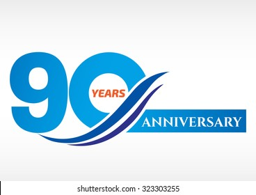 90 years anniversary Template logo