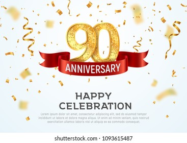 90 years anniversary vector banner template. Ninety year jubilee with red ribbon and confetti on white background