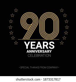 90 years anniversary vector icon, logo. Graphic design element with number and text composition for 90th anniversary.