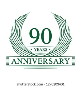 90 years design template. 90th anniversary. Vector and illustration.