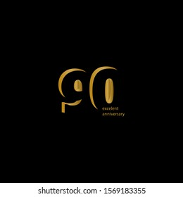 90 Years Excellent Anniversary Vector Template Design Illustration