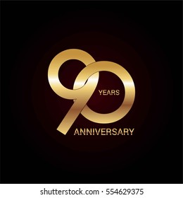 90 years gold anniversary celebration simple logo, isolated on dark background