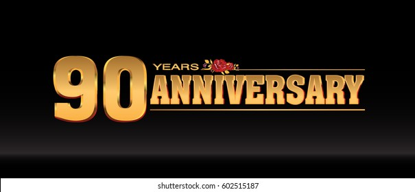 90 Years gold anniversary celebration logo, anniversary for celebration, birthday, wedding and party