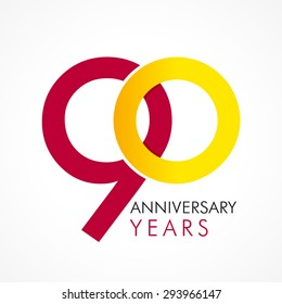 90 years old celebrating classic logo. Anniversary year of 90 th vector template. Birthday greetings celebrates. Traditional digits of jubilee ages in a shape of two rings.