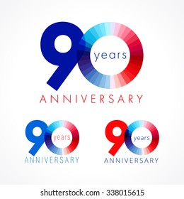 90 years old celebrating colored logo. Anniversary numbers 90 th. Shining congratulating logotype. Greetings celebrates set red, blue, white colors. Stained digit  ninety, 0, % off isolated template.