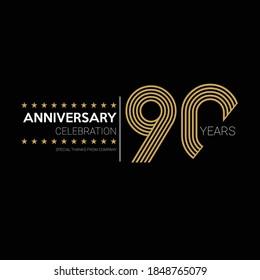 90 years old celebrating logo. happy anniversary 90th. Greetings celebrates.