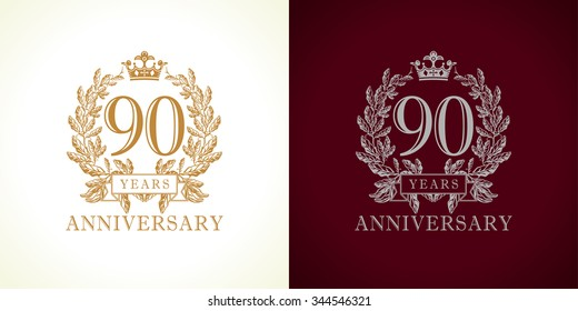 90 years old luxurious logotype. Congratulating 90th numbers gold colored template framed in palms. Isolated greetings celebrates. Celebrating traditional ninety in branches. Nine, 9th win place.