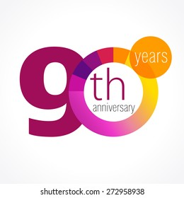 90 years old round logo. Anniversary year 90 th vector chart template medal. Birthday greetings circle celebrates. Celebrating numbers. Colorful digits. Figures of ages, cut sections. Letter O purple.