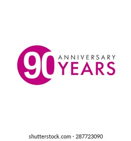 90 years old round logo. Anniversary year of 90 th vector banner numbers. Birthday greetings circle celebrates. Celebrating digits. Colored figures of ages.