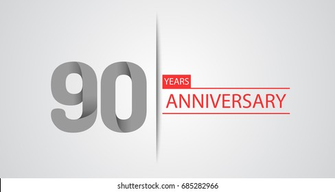 90 Years simple anniversary celebration logo, anniversary for celebration, birthday, wedding and party. Vector design isolated on white background