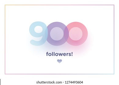 8692e6b70f2 900, followers thank you colorful background number with soft shadow.  Illustration for Social Network