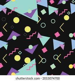 90s and 80s style pattern. Vector seamless pattern background with differente shapes.